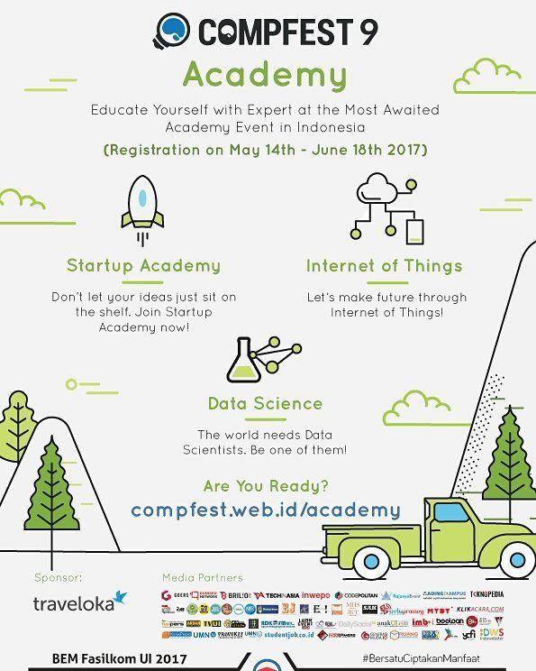 Pendaftaran Academy CompFest 9 telah dibuka!  Dalam rangka mengarahkan perkembangan masyarakat indonesia menjadi masyarakat digital Academy CompFest  kembali dengan IoT Academy Startup Academy dan Data Science Academy!  IoT Academy Di IoT Academy kamu akan belajar untuk mengembangkan ide serta membuat solusi IoT. Disini kamu akan mendapat banyak pengalaman dari sesi mentoring sesi networking forum diskusi dengan juri mentor dan pembicara.   Startup Academy Di Startup Academy kamu akan…