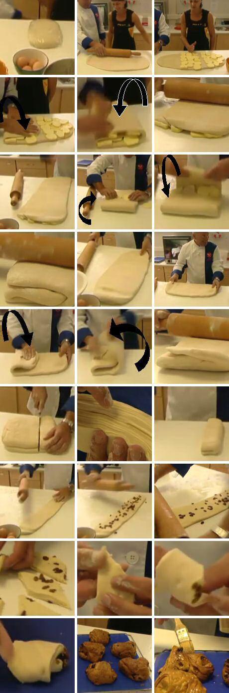 Stap voor stap recept om bladerdeeg te maken en te verwerken in boterkoeken met rozijnen