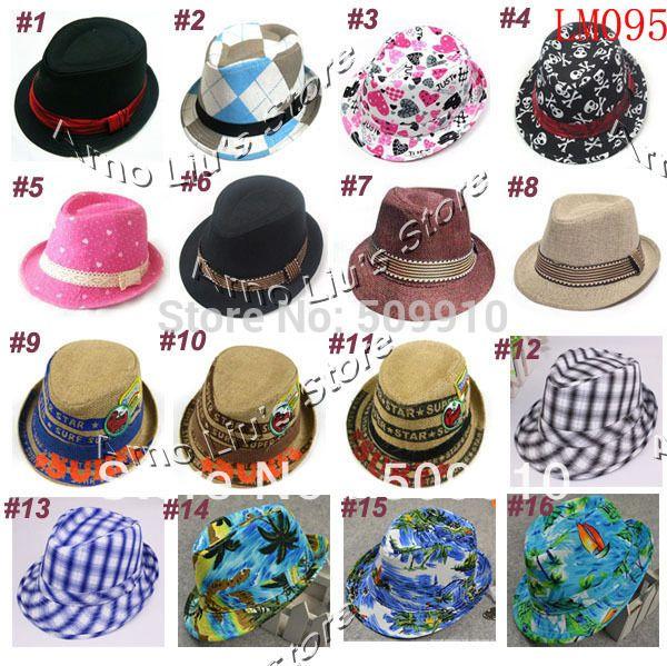Various Baby Fedoras Kids Cowboy Hat Fedora Hats for Children Baby Spring/Autumn Jazz Cap Kids Top Hat Dicers 10pcs/lot