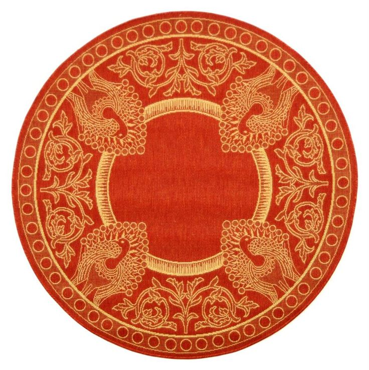 Courtyard round 5 ft rug in red amp natural w peacocks home decor