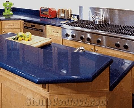 Sparkle Blue Quartz Stone with Bright Surfaces for Prefab Countertops Your First Kitchen Countertop Options Nonporous More Durable Than Granite Countertops Slab Size 3200*1600 or 3000*1400 from China - StoneContact.com