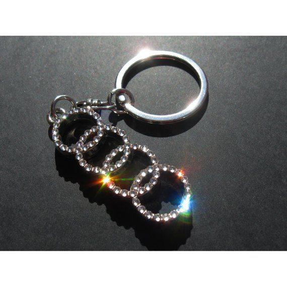 Bling Audi Keychain With Crystals Doblesided Bling Audi Key