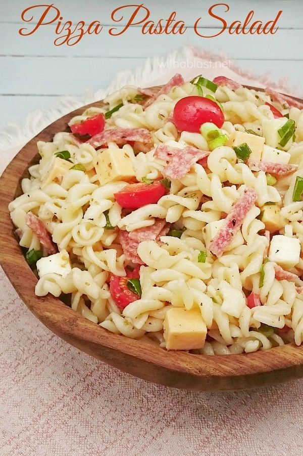 Next best meal to a Pizza on a hot day ? This family favorite Pizza Pasta Salad which can be made ahead, and only gets better with time ~ easy recipe and perfect for a light dinner idea !