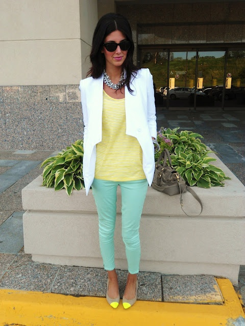 Mint pants + soft yellow shirt + white cardigan... really cute for spring!