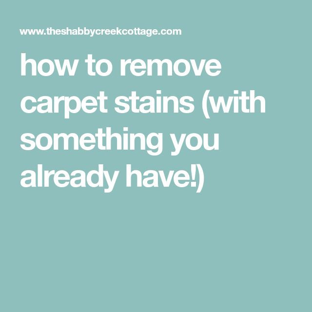 how to remove carpet stains (with something you already have!)