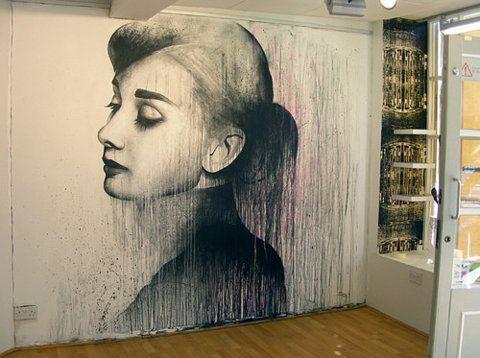 graffiti: Wall Art, That Girls, Wallart, Wall Murals, Audrey Hepburn, Street Art, Wall Paintings, Audreyhepburn, Portraits