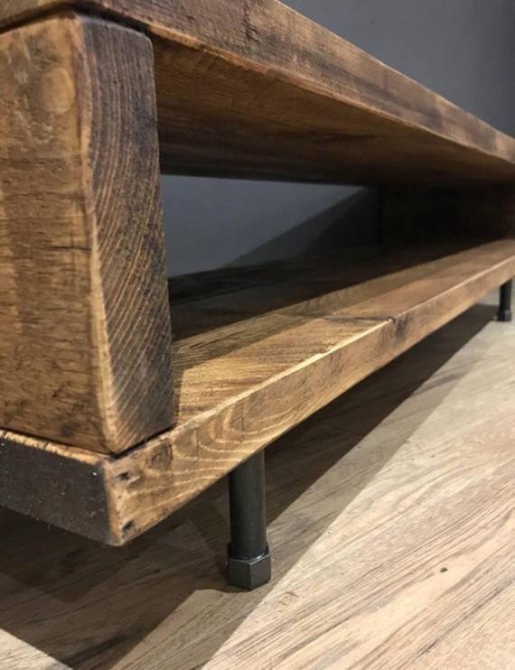 Reclaimed Wood Tv Stand Cabinet 47cm High Industriedesign Mobel Wohnung Innenarchitektur Tv Stander