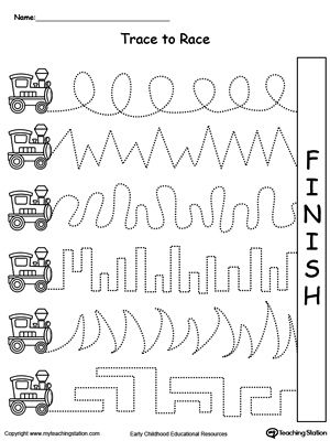 "Trace to Race: Train Track: Help your child develop their pre-writing and fine motor skills with My Teaching Station ""Trace to Race"" printable tracing worksheet."