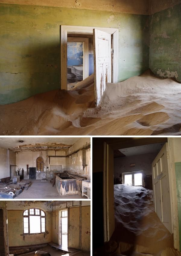 Just outside Luderitz is the ghost town of Kolmanskop – another hangover from the diamond rush that once consumed the region. Today the abandoned buildings are plagued by the unforgiving desert winds and shifting sands, which have now all but consumed their interiors (below).