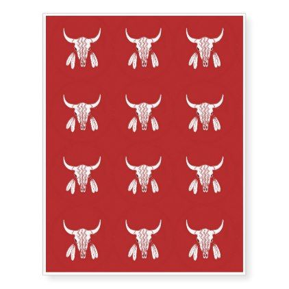 Red Ghost Dance Buffalo temp tattoos trf sheet - diy cyo customize create your own #personalize