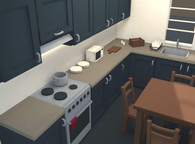 Low Poly Modular Kitchen 3d Model Modular Poly Kitchen Environments