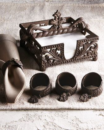This set matches the carvings on our Indian buffet!  GG Collection Napkin Holder and Four Napkin Rings - Neiman Marcus