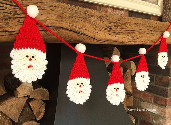 Santa bunting pattern *PATTERN ONLY* (Crochet Instructions not an actual item)  The santa may be used as applique, and would be perfect sewn