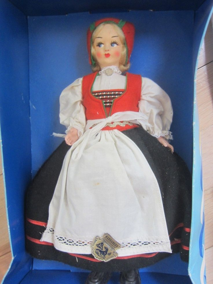 "Vintage Hardanger Norway Handpaint Costume Doll 10"" Orig Box Tags Made Italy 
