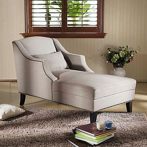 baxton studio asteria chaise lounge in putty grey