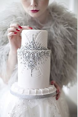 Art Deco Wedding Cake with Silver and White Rhinestones, 2013 Weddings Trends http://www.bridaltweet.com/page/2013-wedding-trends