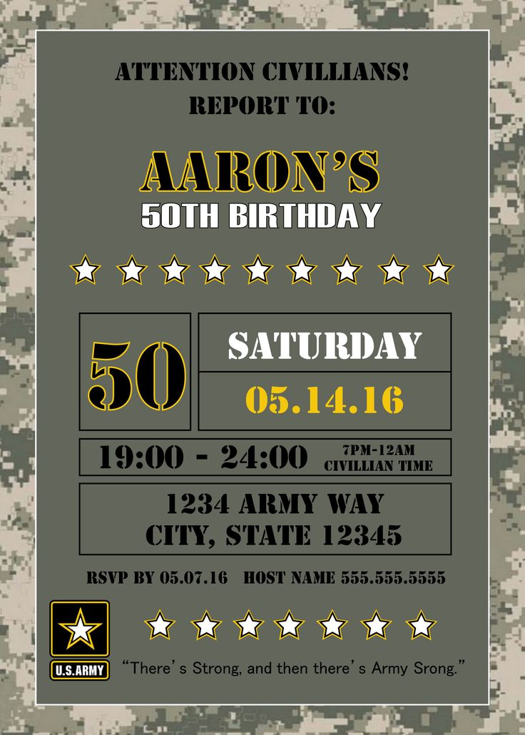 US Army Invitation - Can be for birthday, welcome home or retirement party.