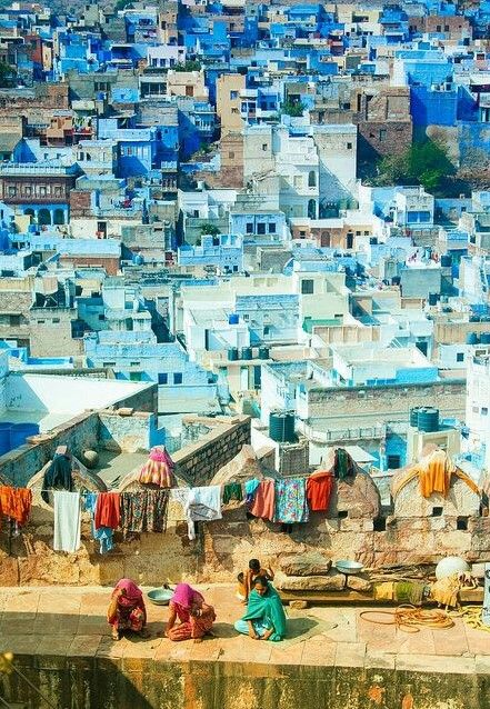 Jodhpur, Rajasthan, India travel. Known as the Blue City, here in a view from the Mehrangarh Fort. Hundreds of years ago the Brahmins painted their homes blue in this city in order to set themselves apart. After time, everyone began to use the same blue. Was here summer. Backpacking Asia.