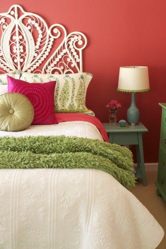 wall color.. nightstand: Wall Colors, Colors Combos, White Headboard, Headboards, Head Boards, Colors Schemes, Beds Frames, Coral Wall, Guest Rooms