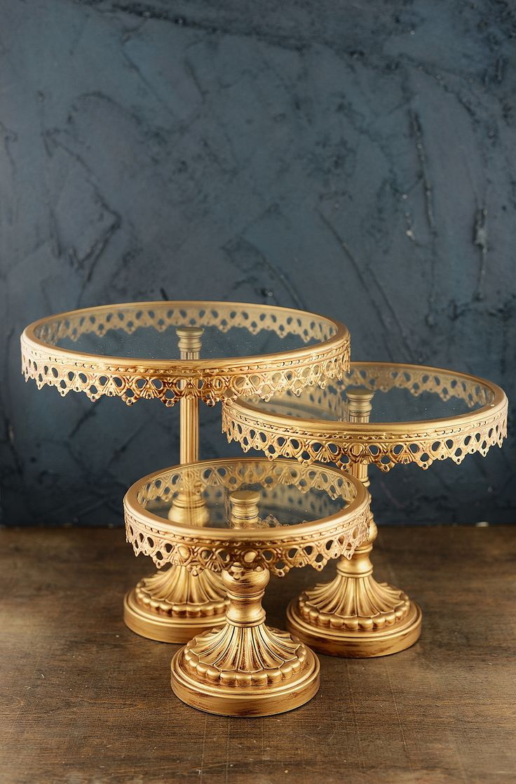 Cake Stands Gold Set Of 3 Wedding Ideas Pinterest