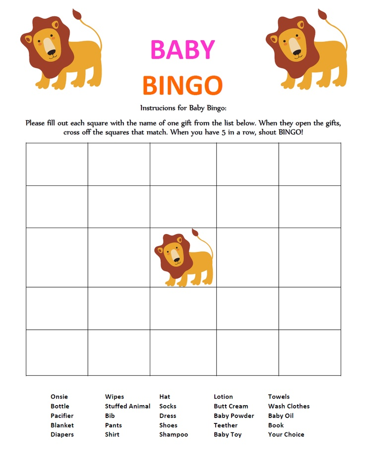 Lion Baby Shower Game- Gift Bingo....i like this one better b/c it gives the options to fill in...and the lion goes with the noah's ark theme!!!!