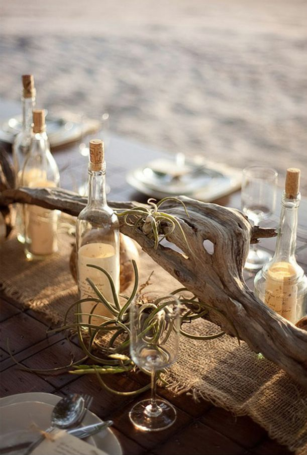 Beach Tablescape. This is for you Joni. Love the message in a bottle and the drift wood. See your plants?
