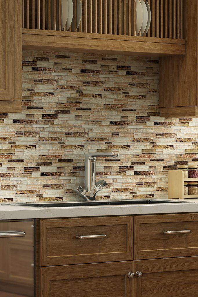 Mto0207 Contemporary Linear Brown Glossy Foil Glass Mosaic Tile Trendy Kitchen Backsplash Kitchen Tiles Backsplash Glass Mosaic Backsplash Kitchen