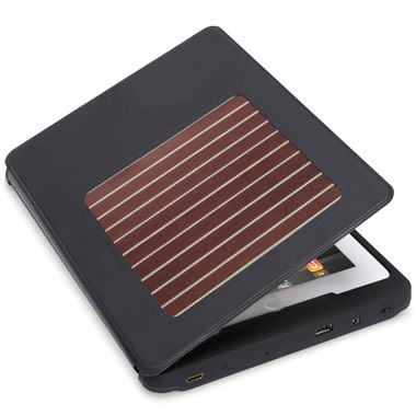 Solar Charging iPad Case - provides up to 10 days use w/o the need for a charge. Solar panel uses a new technology that converts both indoor and outdoor light into electricity that constantly charges an iPad. Has a built-in stainless steel stand. Hammacher