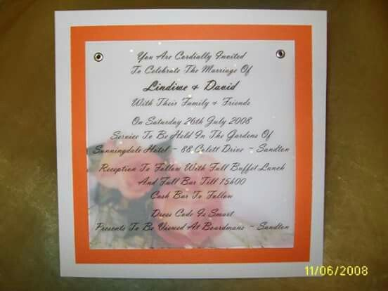 Orange on White 4 layered invitation.  White card with orange overlay.  Picture printed onto another white sheet then the wedding details printed onto slightly opaque velum. Assembled using eyelets