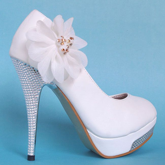 Glitter High Heel Platform Lace Flowers Wedding Shoes,White [SA023 ...