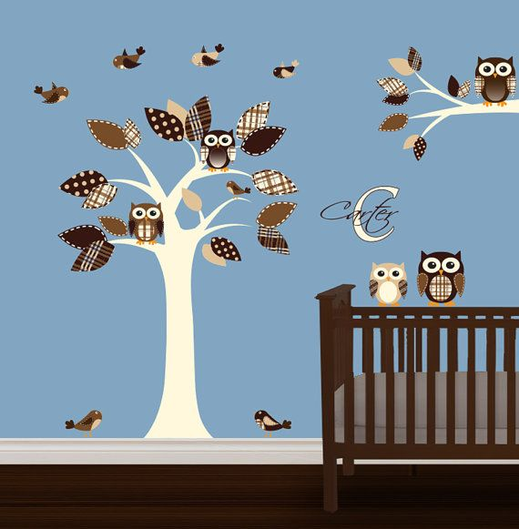 Nursery Tree Decal Vinyl Wall Tree Owls Decal Brown Cream @Reese Pierce
