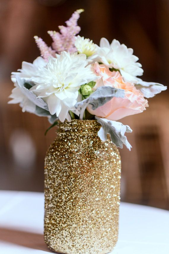 Gold Glitter Mason Jar - Gold Vase, Gold Major Jar, Glitter Mason Jar on Etsy, $7.00  Shop similar jars at www.typo.com.au