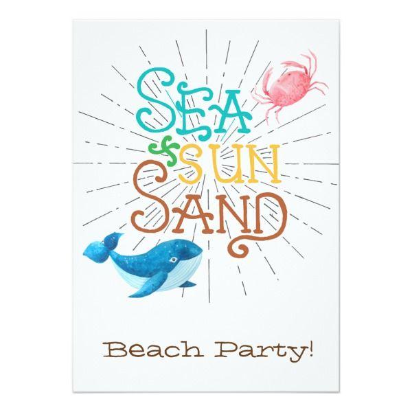 Sea Sun Sand Invitations Customizable Gifts #beach #summer #party #invitation