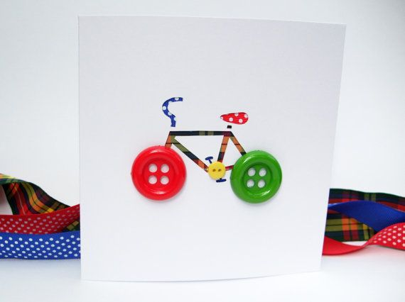 Bicycle Card with Button Wheels  Bike Card  Cycling by Nikelcards