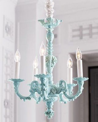 25+ best ideas about Painted Chandelier on Pinterest | Paint ...:... this graceful chandelier is dressed in delicate floral details and has  just the right amount of curves. Available in aqua blue (featured) or white.,Lighting