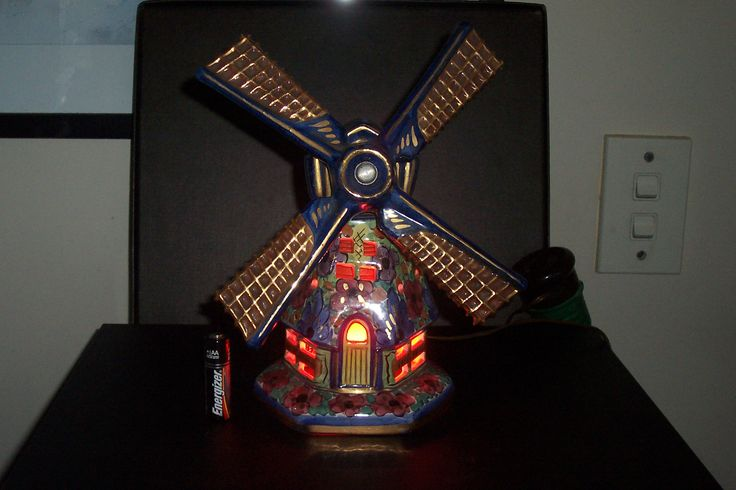 Dutch porcelain polychrome Windmill lamp...signed KANIMO HOLLAND