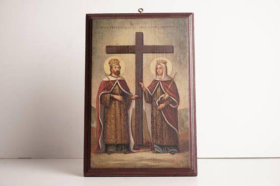 1920-1930 Christian Icon Antique Constantine Helen