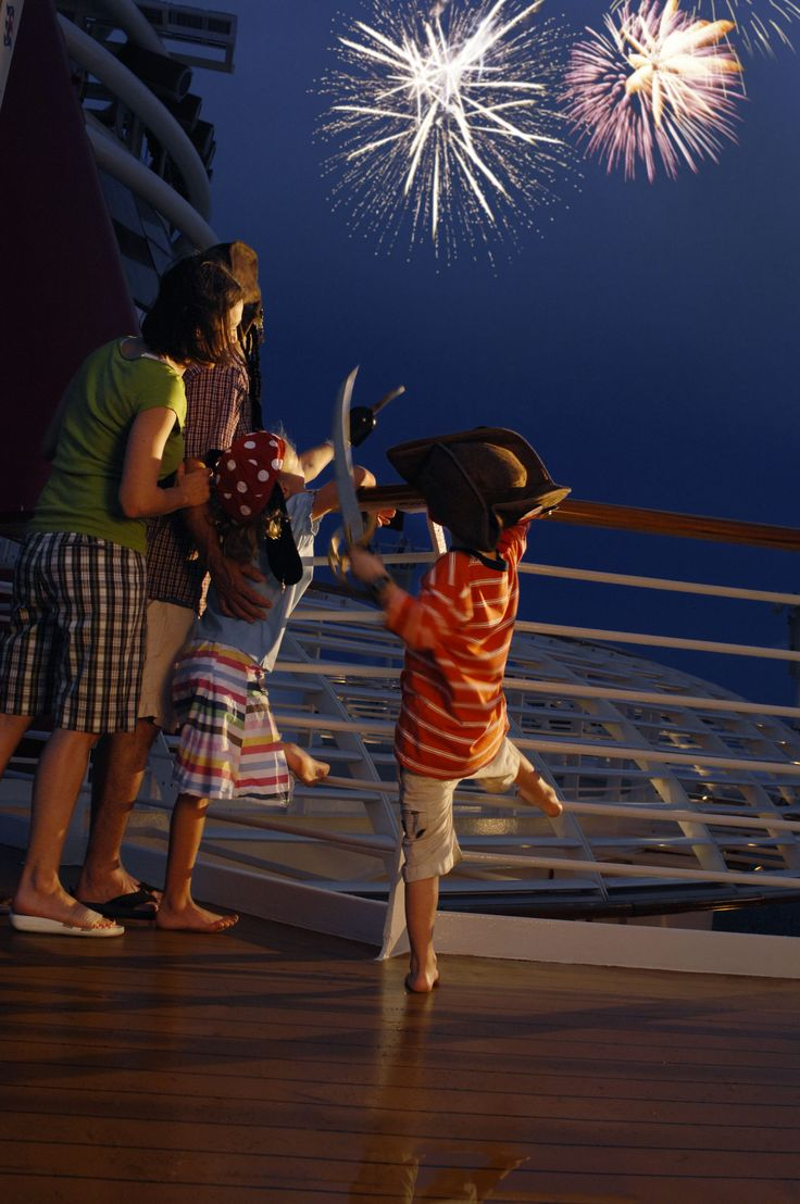"Kids sailing on Disney Cruise Line can embrace their inner ""pirate"" during Pirate Night aboard the Disney Wonder, which concludes with a spectacular fireworks display over the open seas"