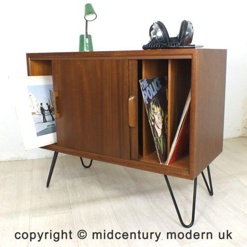 hairpin legs mid century retro vintage danish teak record cabinet eames 50s 60s ebay