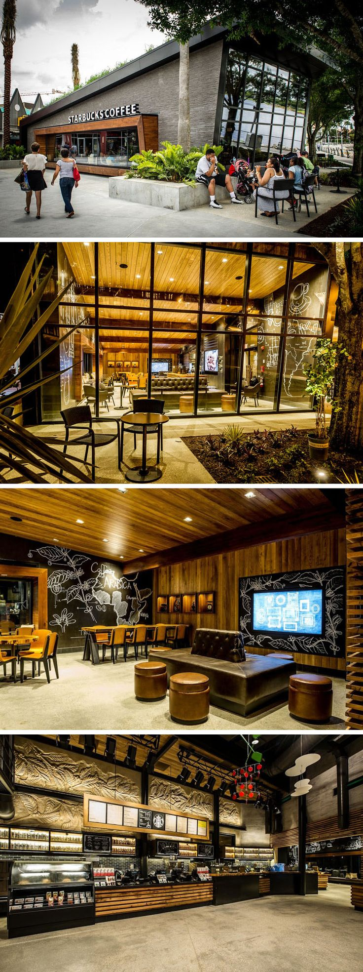 11 Of The Most Uniquely Designed Starbucks Coffee Shops From Around The World | This Starbucks location in Downtown Disney in Orlando, Florida, has lemongrass growing on the sloped roof, while large windows allow people walking past to see into the interior that has wooden tables and chairs and comfy leather couches.