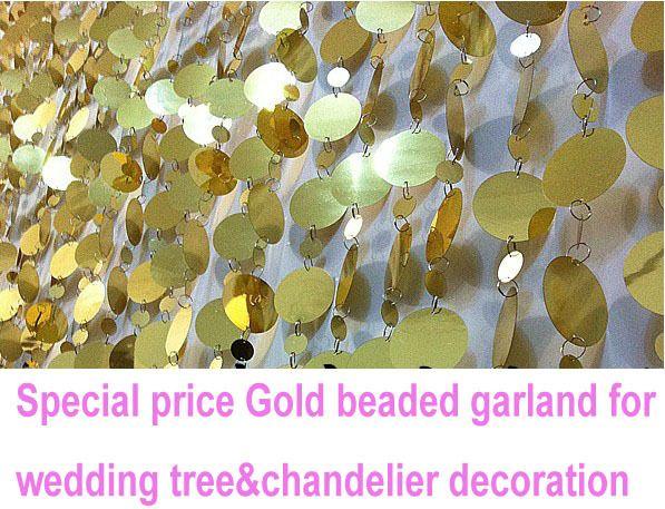 30ft/10m/partij pvc ronde vergulde kralen guirlande kettingen bruiloft kroonluchter lamp decoratie gratis in van op Aliexpress.com
