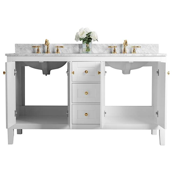 Maili 60 Wide Gold Hardware White Marble Double Sink Vanity 62x17 Lamps Plus In 2020 Vanity Sink Double Sink Vanity Vanity Basin