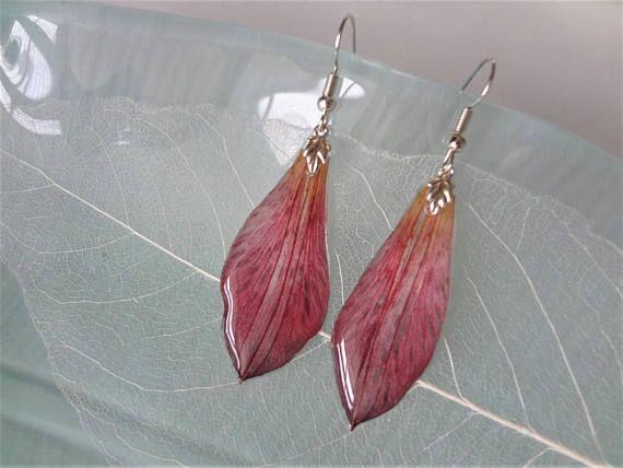 Fuchsia Earrings Resin Drop Earrings Fuchsia Real Flower Etsy In 2020 Earrings Drop Earrings Flower Jewellery