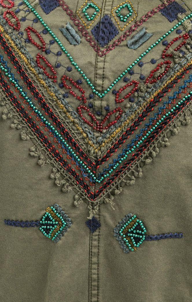Хлопковая куртка цвета хаки с отделкой бисером 72E2WH8/4008 куртка застегивается на пуговицы, купить в интернет-магазине. Цена: 14990