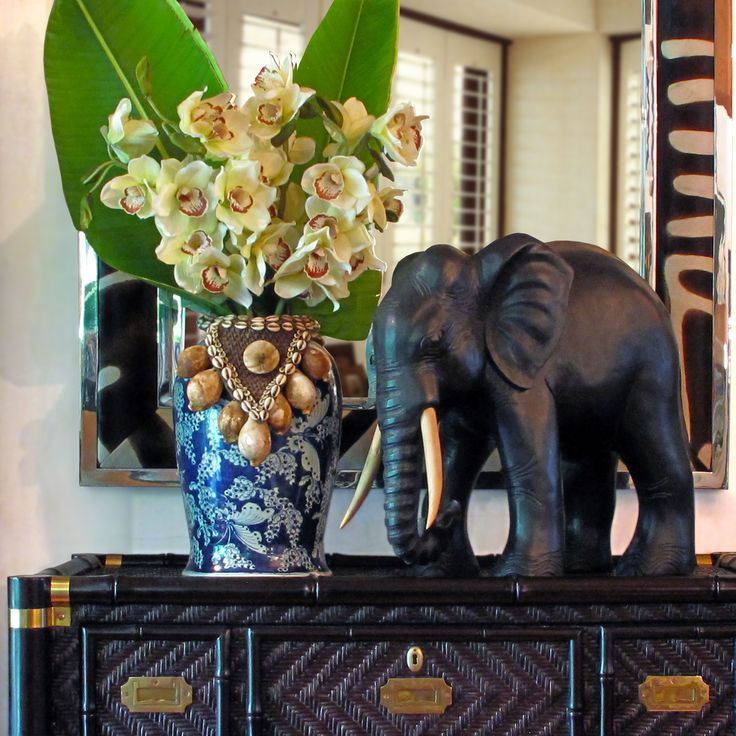 Stuart Membery Home - The impressive scale & handsome details of this hand-carved COLONIAL ELEPHANT will add decorative depth to your home. British Colonial inspiration