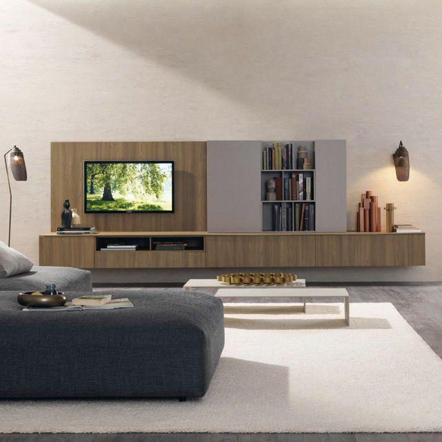 Contemporary TV wall unit / elm Z453  ZALF