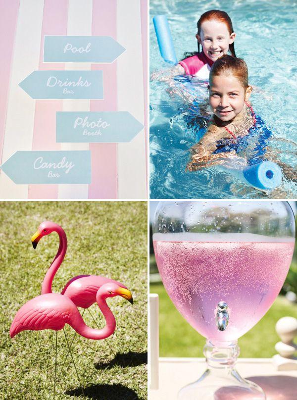 Retro, Pink Flamingo Pool Party...cute idea!