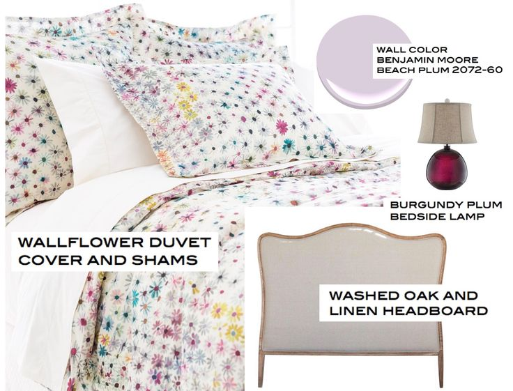 A fresh bedroom scheme with a Wallflower duvet, beach plum paint and and inky purple lamp = peaceful and heavenly