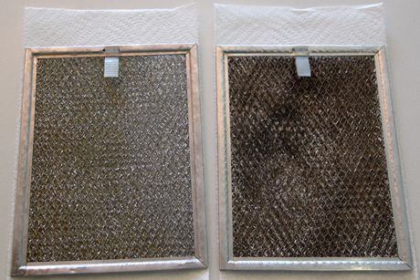 combined equal parts water and household ammonia and added a health squirt of Dawn Ultra Concentrated.    Tested: The Best Way to Clean Your Oven Vent Filters | The Manly Housekeeper