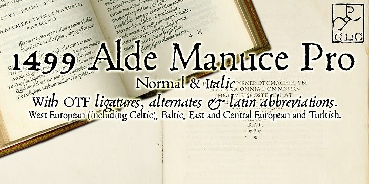Alde Manuce Pro. This family was inspired by the beautiful roman font used by Aldus Manutius in Venice (1499) to print for the first time Hypnerotomachia Poliphili..., the well known book attributed to Francesco Colonna. Francesco Griffo was the punchcutter.